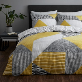 Catherine Lansfield Larsson Geo Ochre Reversible Duvet Cover and Pillowcase Set