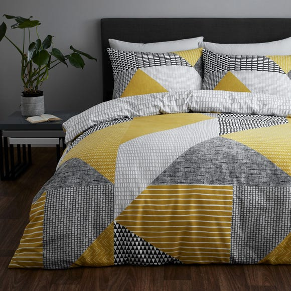 Catherine Lansfield Larsson Geo Ochre Reversible Duvet Cover And Pillowcase Set Dunelm