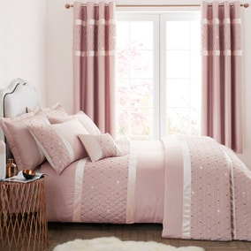 Catherine Lansfield Sequin Cluster Blush Duvet Cover and Pillowcase Set