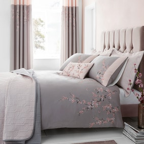 Catherine Lansfield Embroidered Blossom Grey Duvet Cover and Pillowcase Set