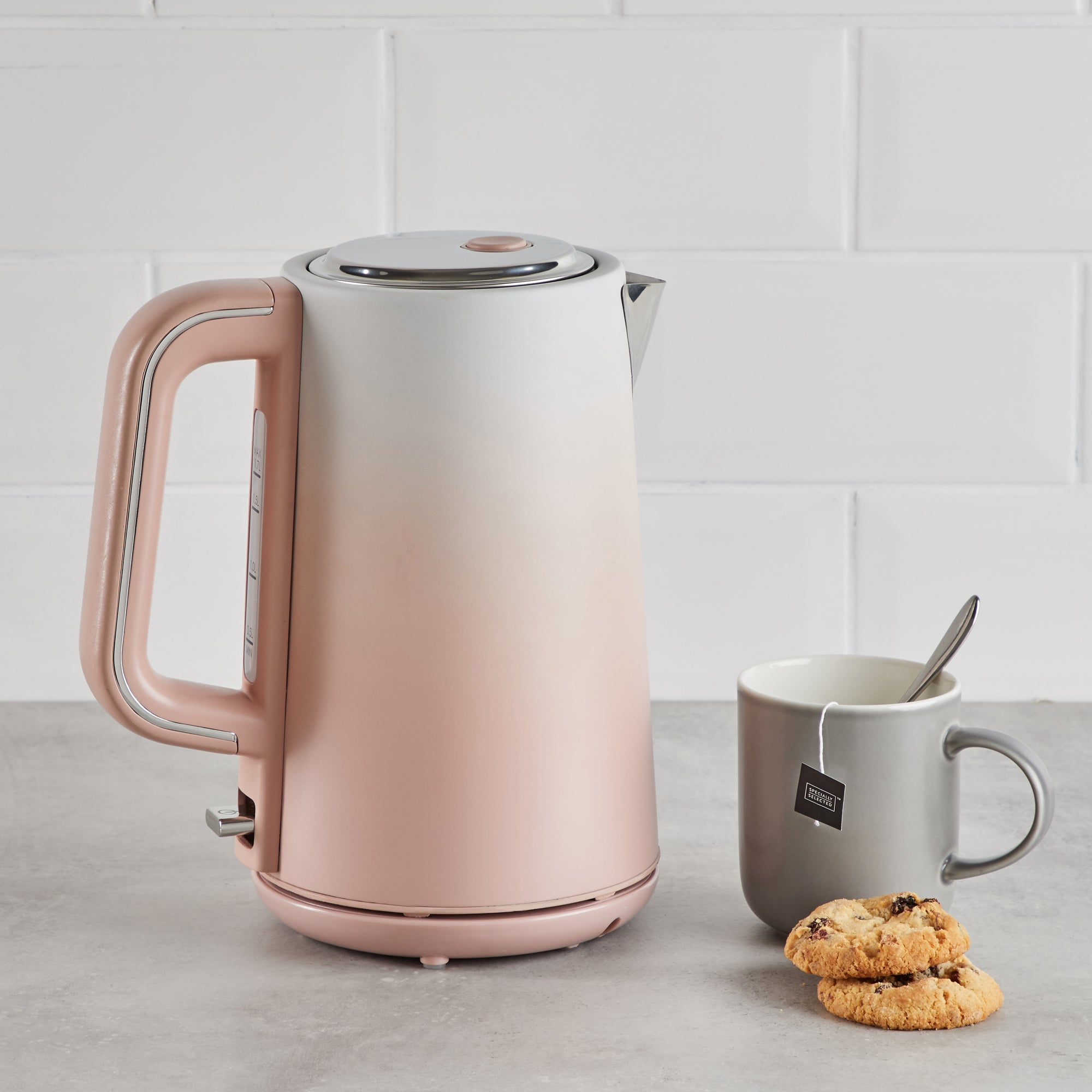 Click to view product details and reviews for Ombre Effect 17l 3kw Blush Pink Kettle Pink Cream And Silver.
