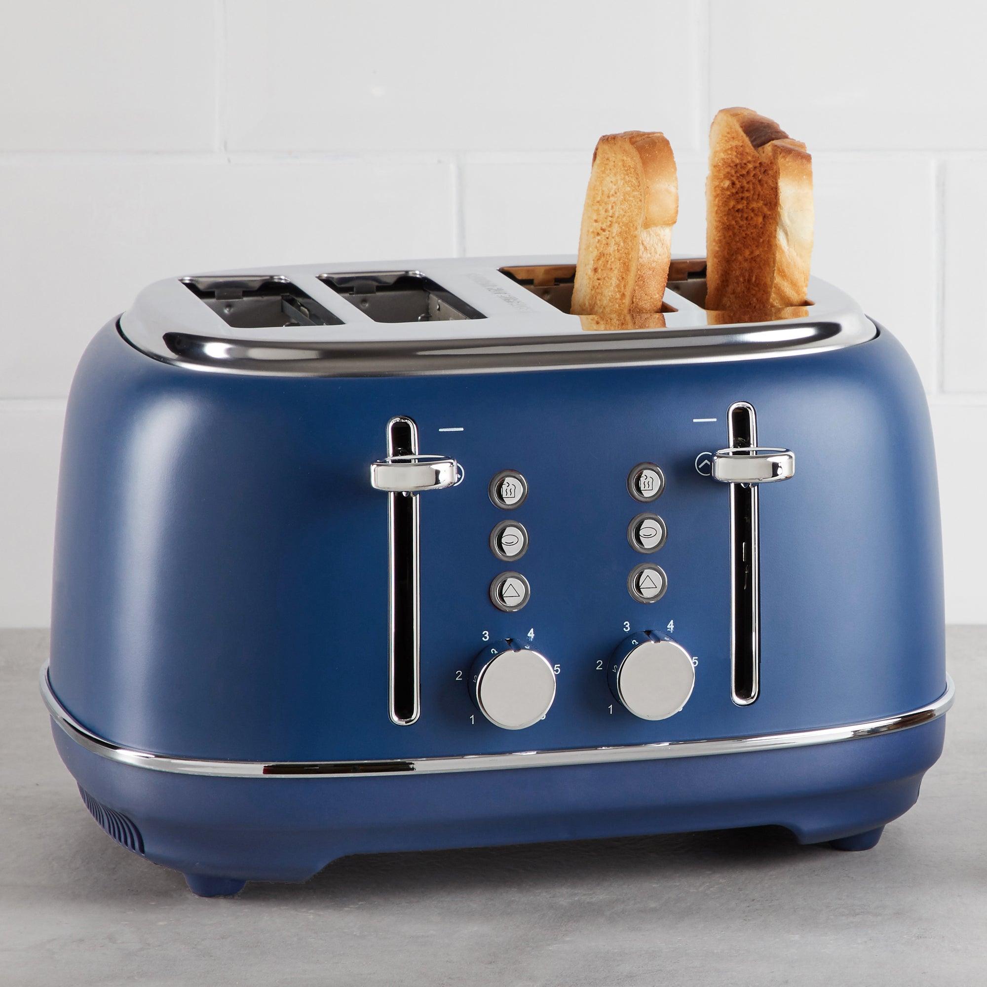 Coastal Navy Blue 4 Slice Toaster Blue And Silver