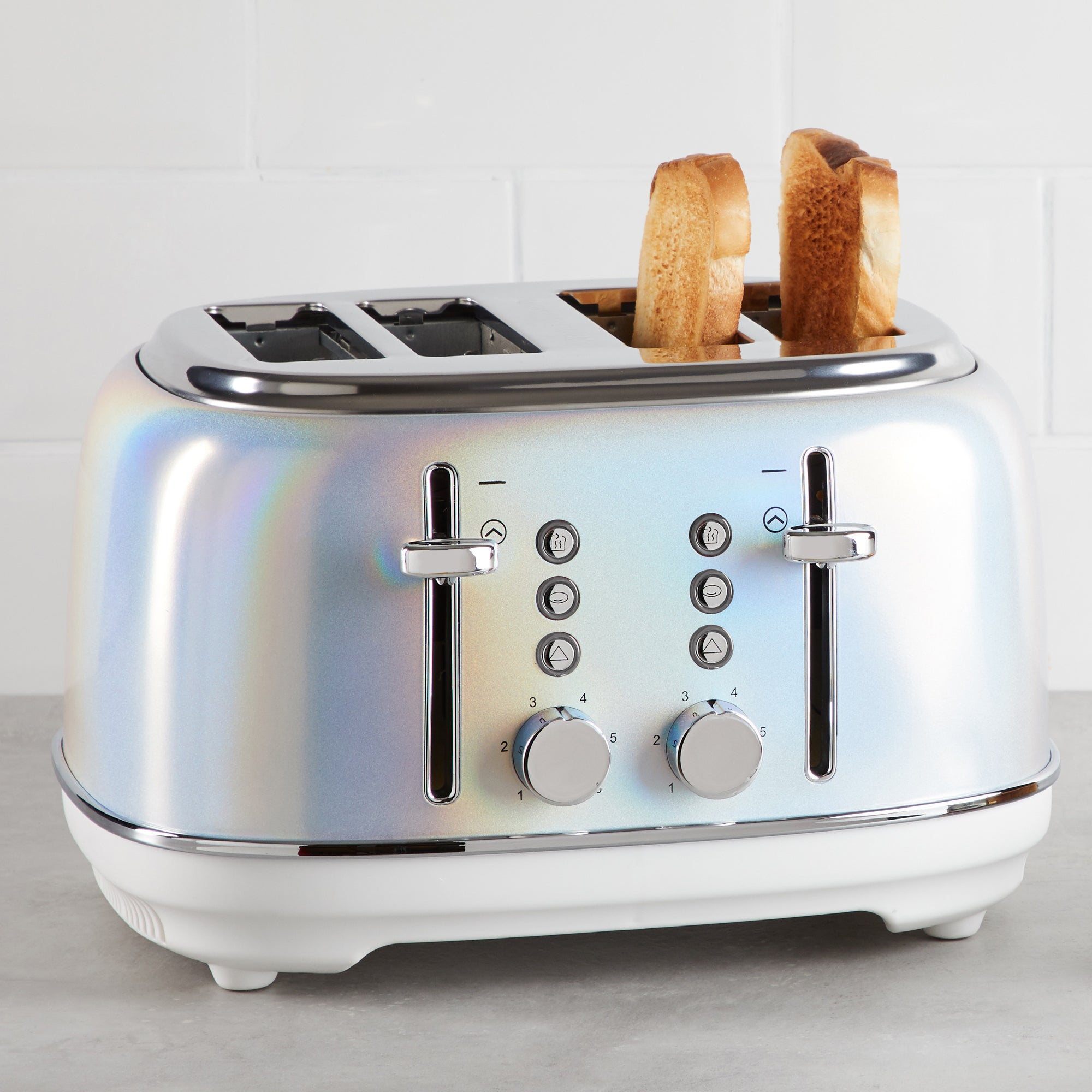 Lustre Effect 4 Slice Toaster Silver Blue And Yellow