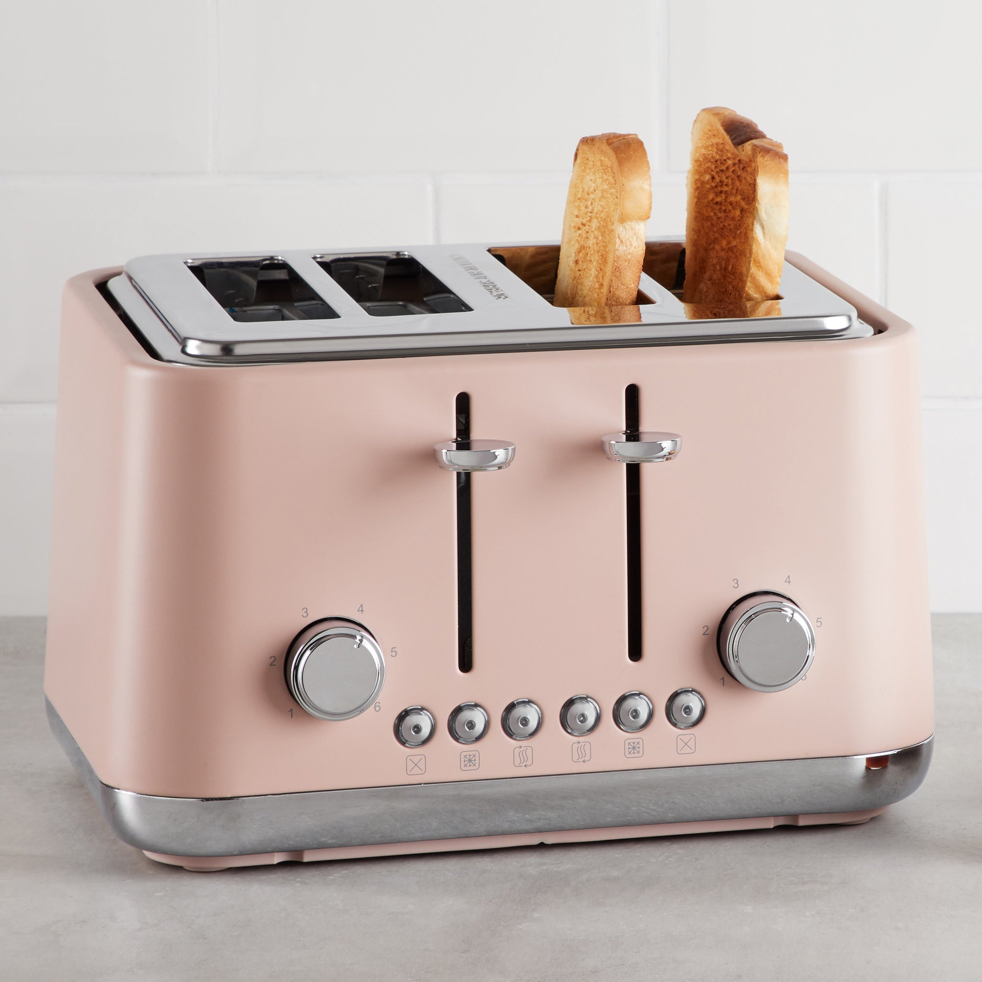 Click to view product details and reviews for Contemporary 4 Slice Matt Blush Pink Toaster Pink Silver And Grey.