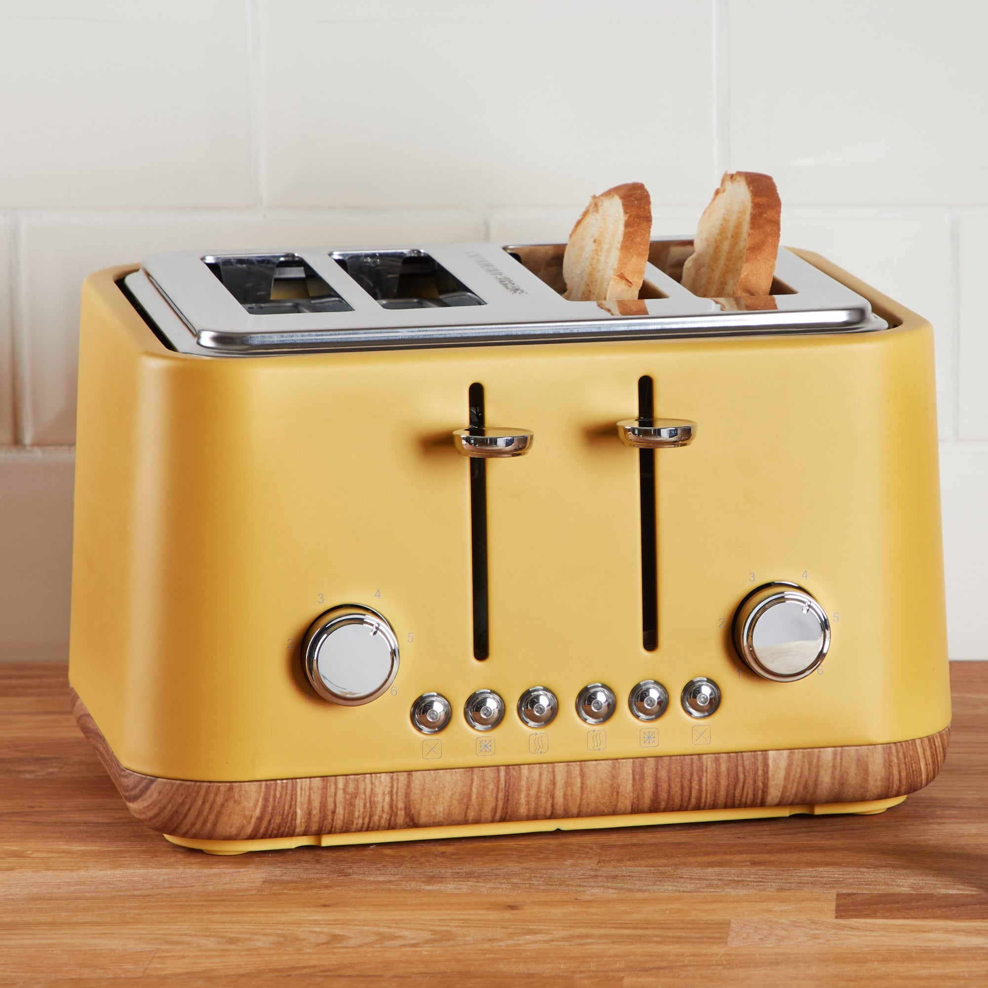 Click to view product details and reviews for Contemporary 4 Slice Ochre Yellow Toaster Yellow Brown And Silver.