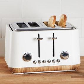 Contemporary 4 Slice Matt White Toaster