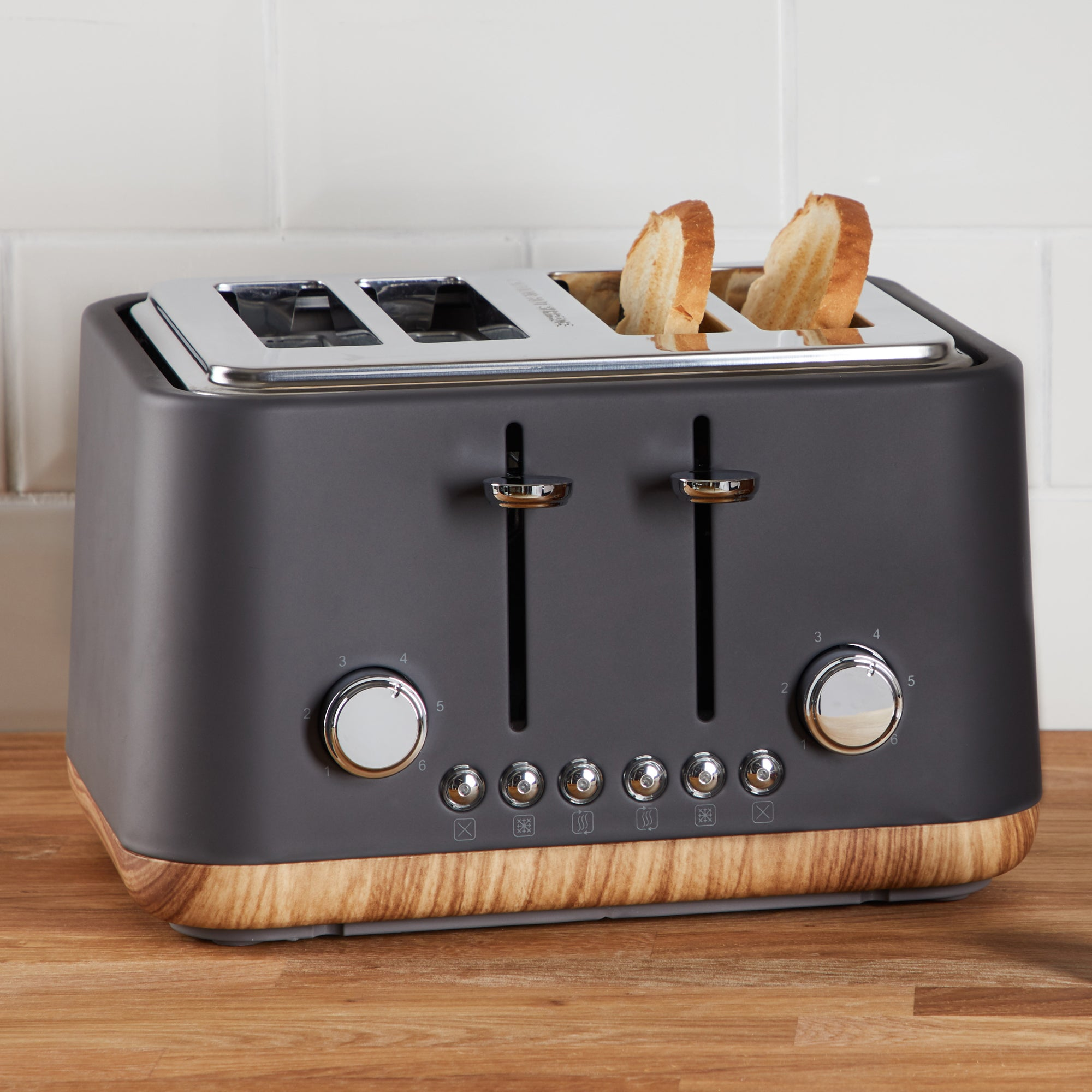 Click to view product details and reviews for Contemporary 4 Slice Matt Grey Toaster Grey And Brown.
