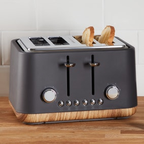 Contemporary 4 Slice Matt Grey Toaster