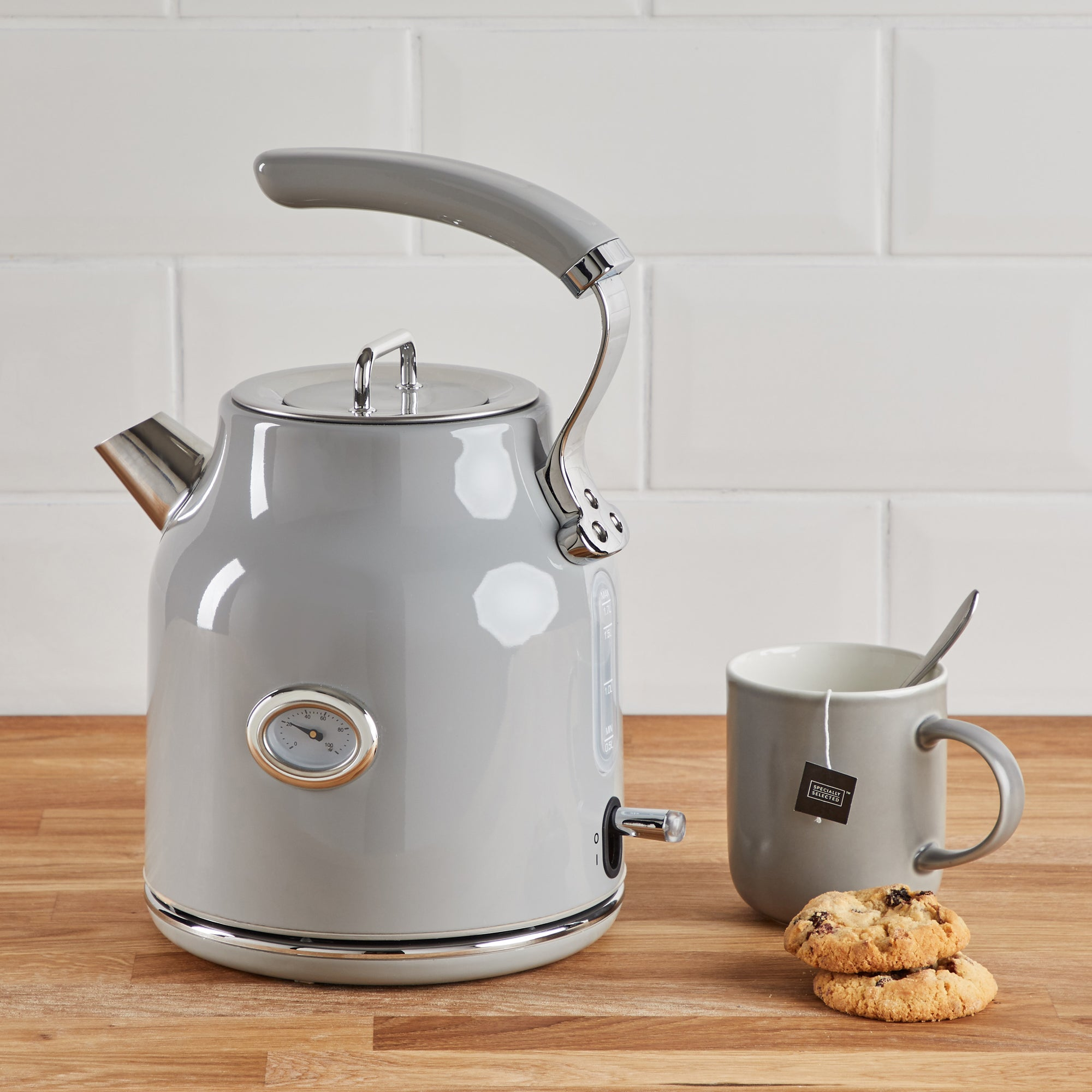 Retro 17l 3kw Grey Kettle Grey And Silver