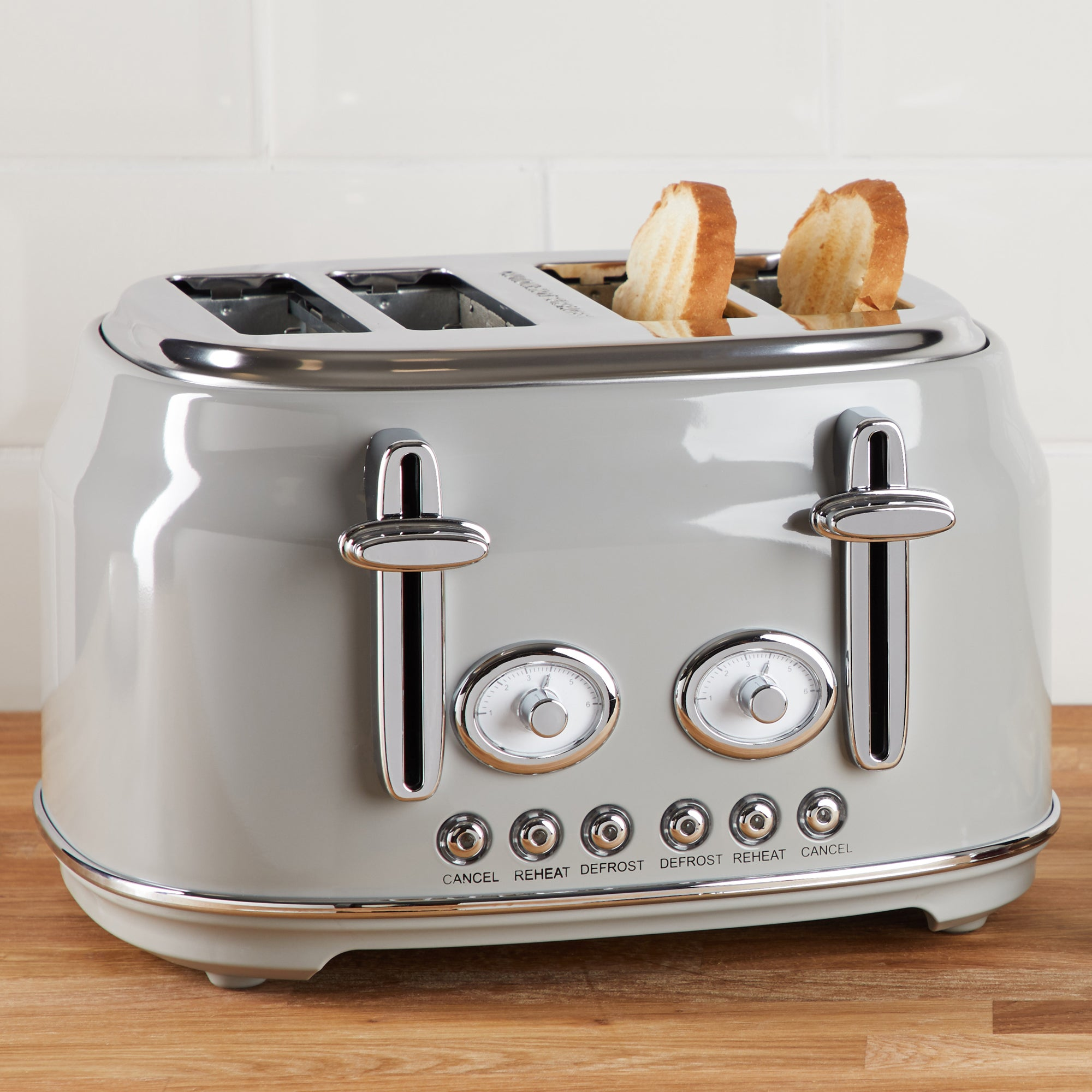 Click to view product details and reviews for Retro 4 Slice Grey Toaster Grey And Silver.