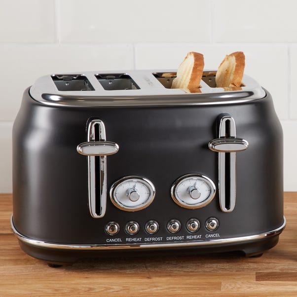 Retro 4 Slice Matt Black Toaster Black
