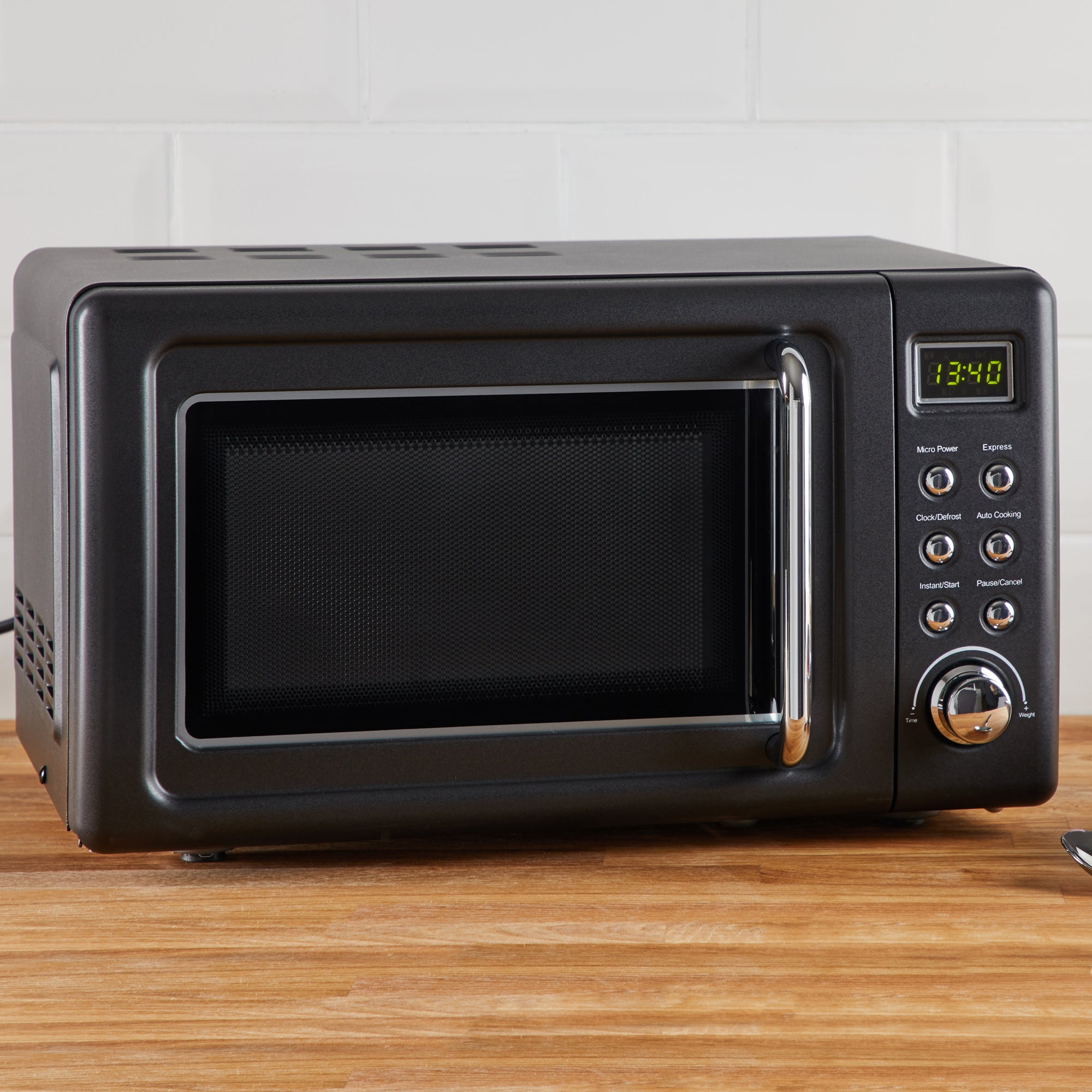 Click to view product details and reviews for Retro 20l 800w Matt Black Microwave Black.