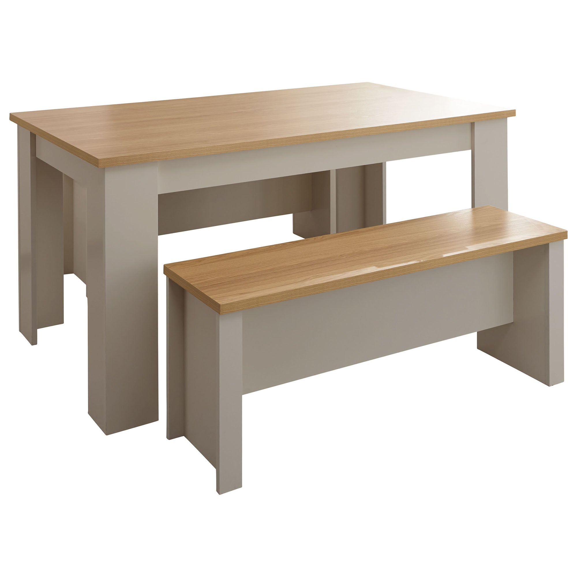 Lancaster 150cm Dining Table and Bench Set Grey and Brown