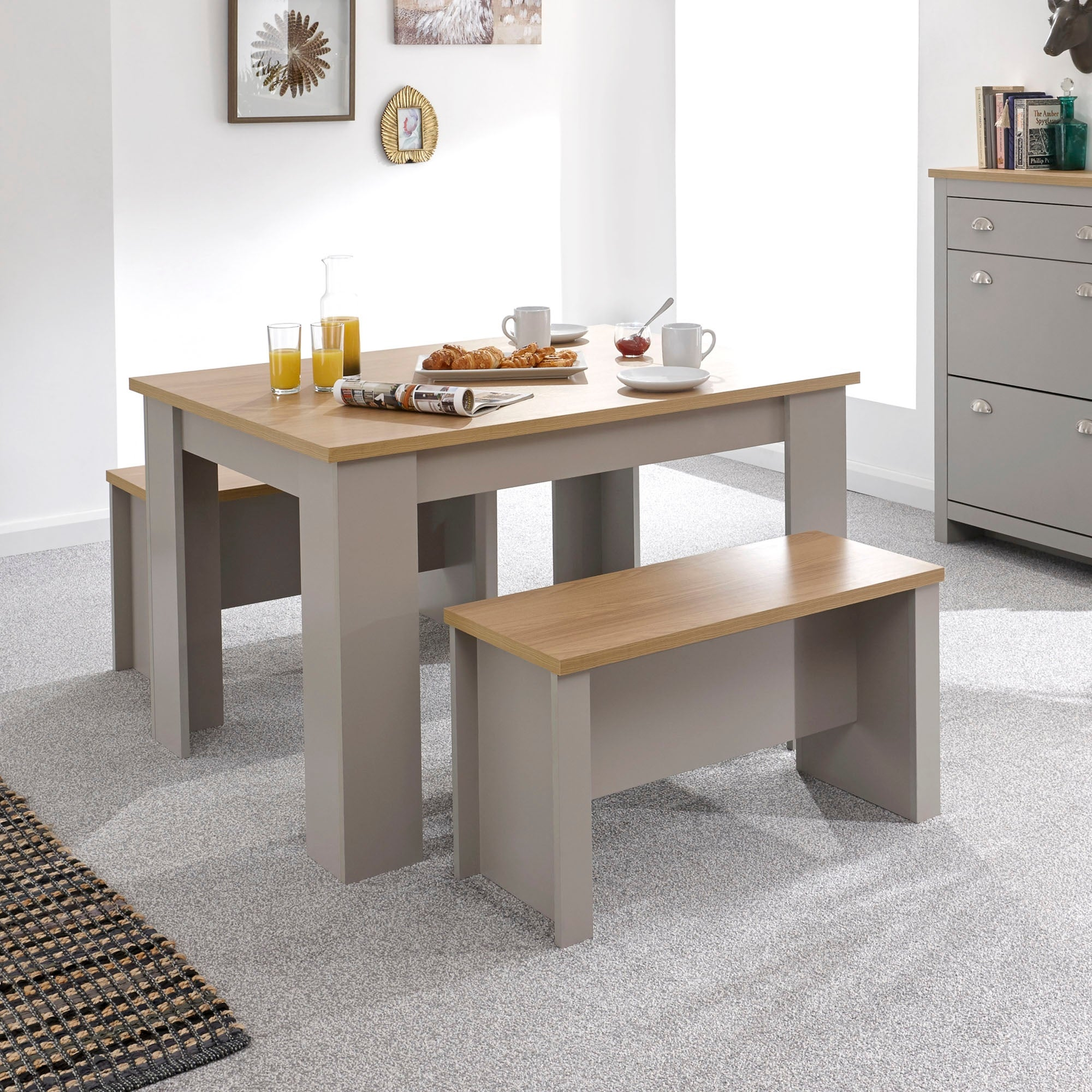 Lancaster 120cm Dining Table and Bench Set Grey