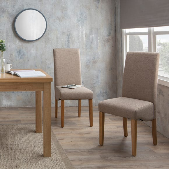 Ethan Set of 2 Dining Chairs Natural Boucle