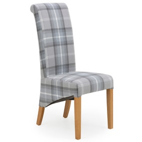 Chester Set of 2 Dining Chairs Grey Woven Check