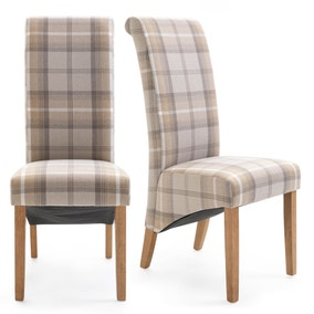 Chester Set of 2 Dining Chairs Natural Woven Check