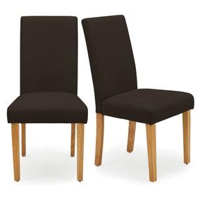 Hugo Set of 2 Dining Chairs Chocolate PU Leather