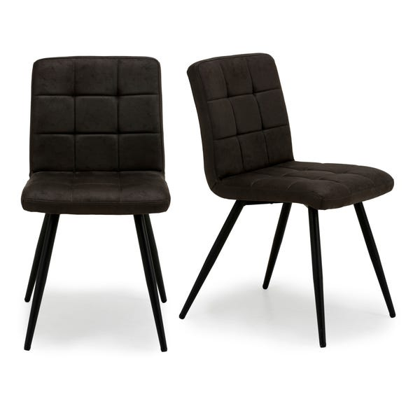 Porter Set of 2 Dining Chairs Grey Microsuede
