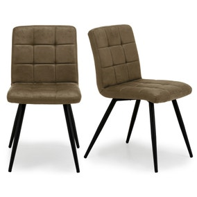 Porter Set of 2 Dining Chairs Tan Microsuede