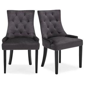 Regent Set of 2 Dining Chairs Grey Velvet