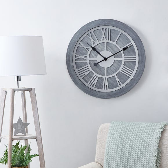 Wooden 60cm Wall Clock Grey Grey