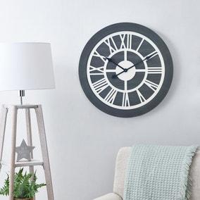 Wooden 60cm Wall Clock Grey