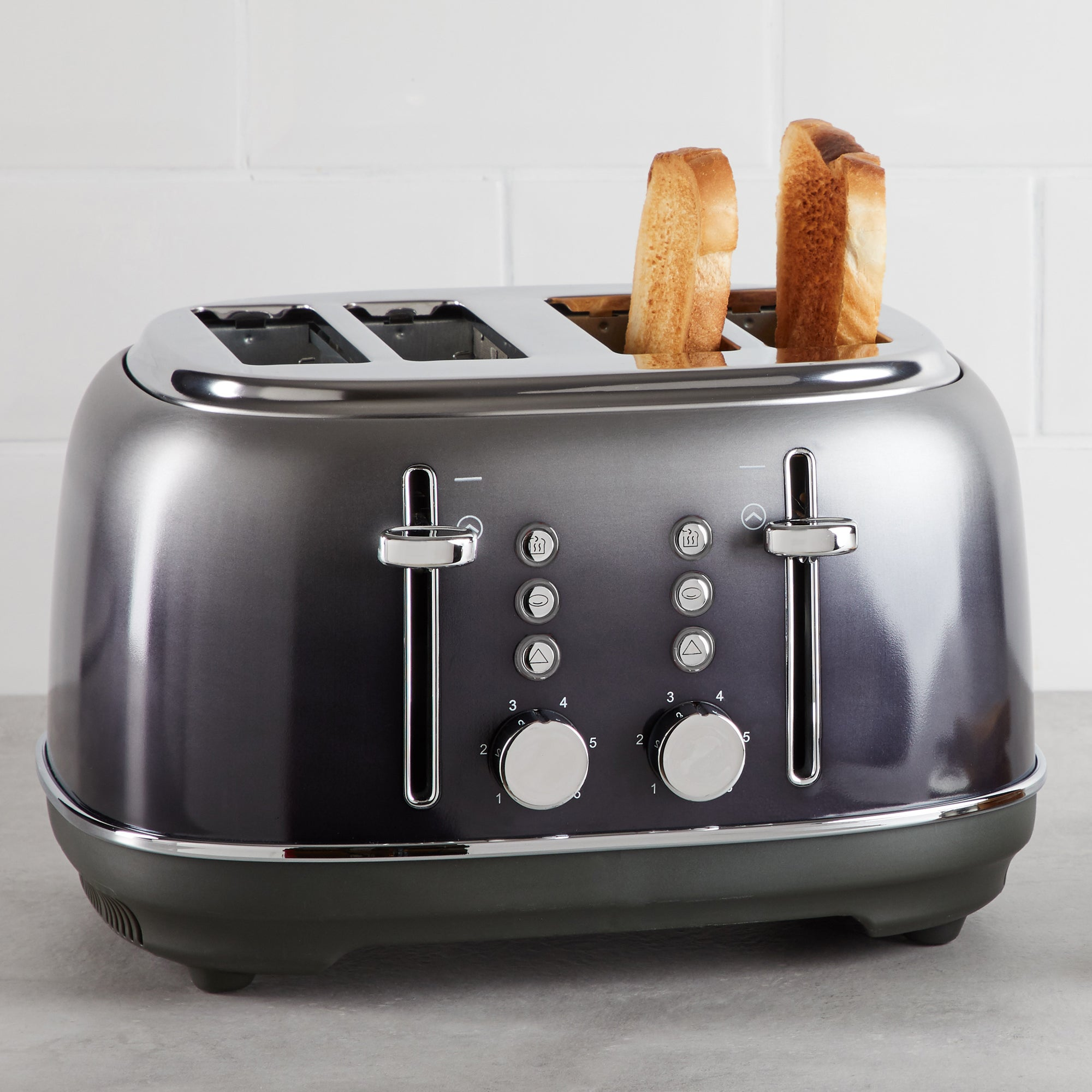 Click to view product details and reviews for Ombre Effect 4 Slice Pewter Toaster Silver.