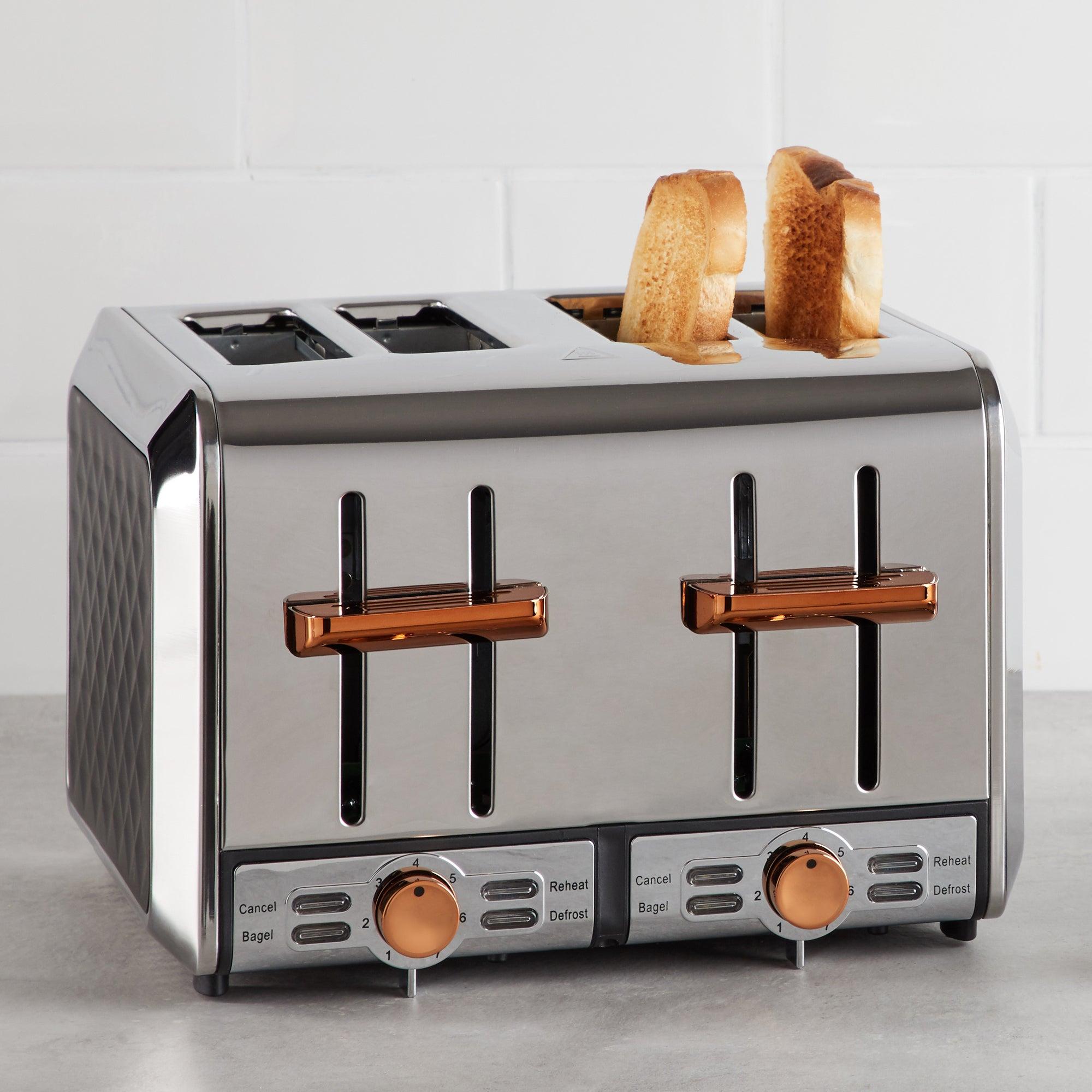 Elements 4 Slice Black and Copper Toaster Black and Orange
