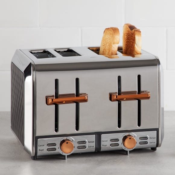 Elements 4 Slice Black and Copper Toaster Black