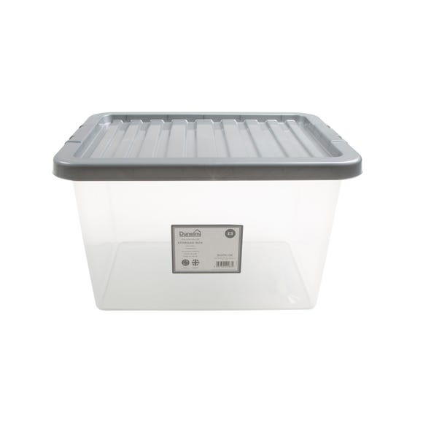 25L Silver Plastic Storage Box Silver