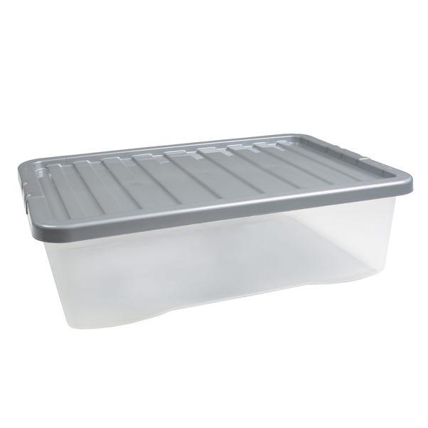 32L Silver Plastic Underbed Storage Box Silver