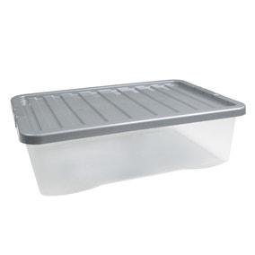 32L Silver Plastic Underbed Storage Box