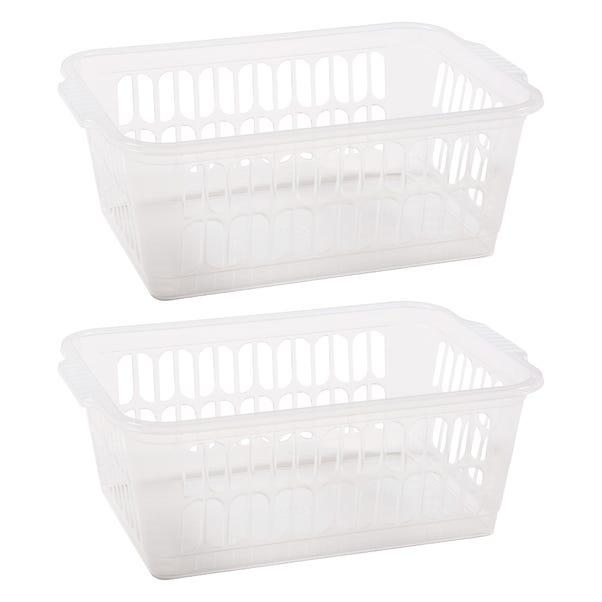 Handy Baskets Set of 2 Large Plastic Storage Baskets Clear