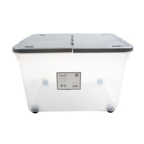 44L Silver Wheeled Plastic Storage Box with Folding Lid