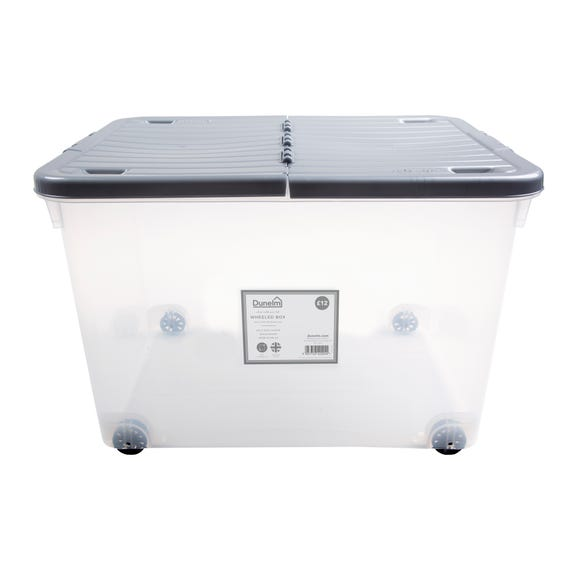 80L Silver Wheeled Plastic Storage Box with Folding Lid Silver