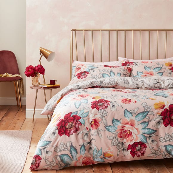 Accessorize Isla Floral Blush 100% Cotton Reversible Duvet Cover and Pillowcase Set  undefined