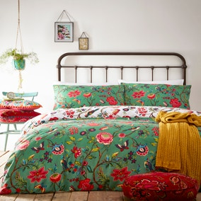 Pomelo Green Reversible Duvet Cover and Pillowcase Set