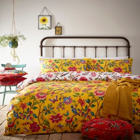 Pomelo Yellow Reversible Duvet Cover and Pillowcase Set