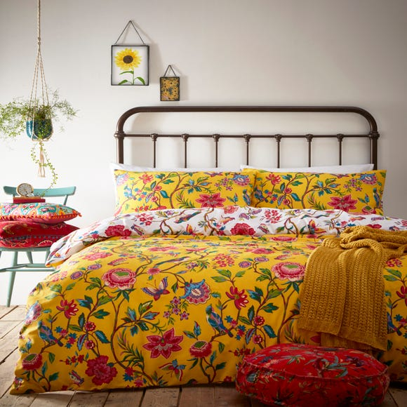 Pomelo Yellow Reversible Duvet Cover and Pillowcase Set Yellow undefined