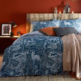 Furn. Winter Woods Midnight Blue Reversible Duvet Cover and Pillowcase Set