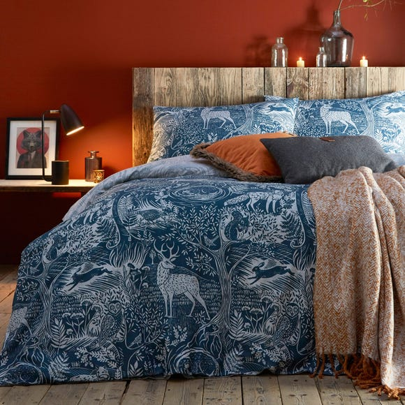 Winter Woods Midnight Blue Reversible Duvet Cover and Pillowcase Set Midnight Blue undefined
