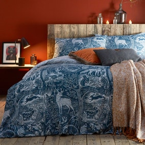 Winter Woods Midnight Blue Reversible Duvet Cover and Pillowcase Set
