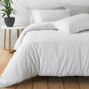 Linear White Stripe 100% Cotton Duvet Cover and Pillowcase Set