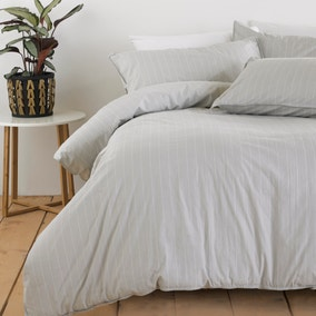 The Linen Yard Linear Grey Stripe 100% Cotton Duvet Cover and Pillowcase Set