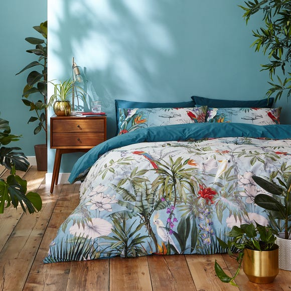 Accessorize Paradise Teal 100% Cotton Reversible Duvet Cover and Pillowcase Set Blue undefined