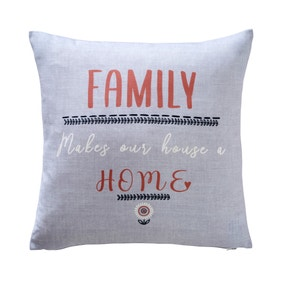 Family Home Grey Cushion Cover