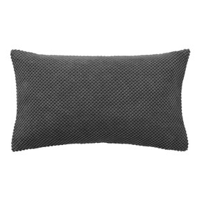 Chenille Spot Rectangular Charcoal Cushion