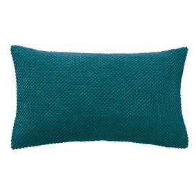 Chenille Spot Rectangular Teal Cushion