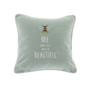 Bee Beautiful Embroidered Seafoam Cushion
